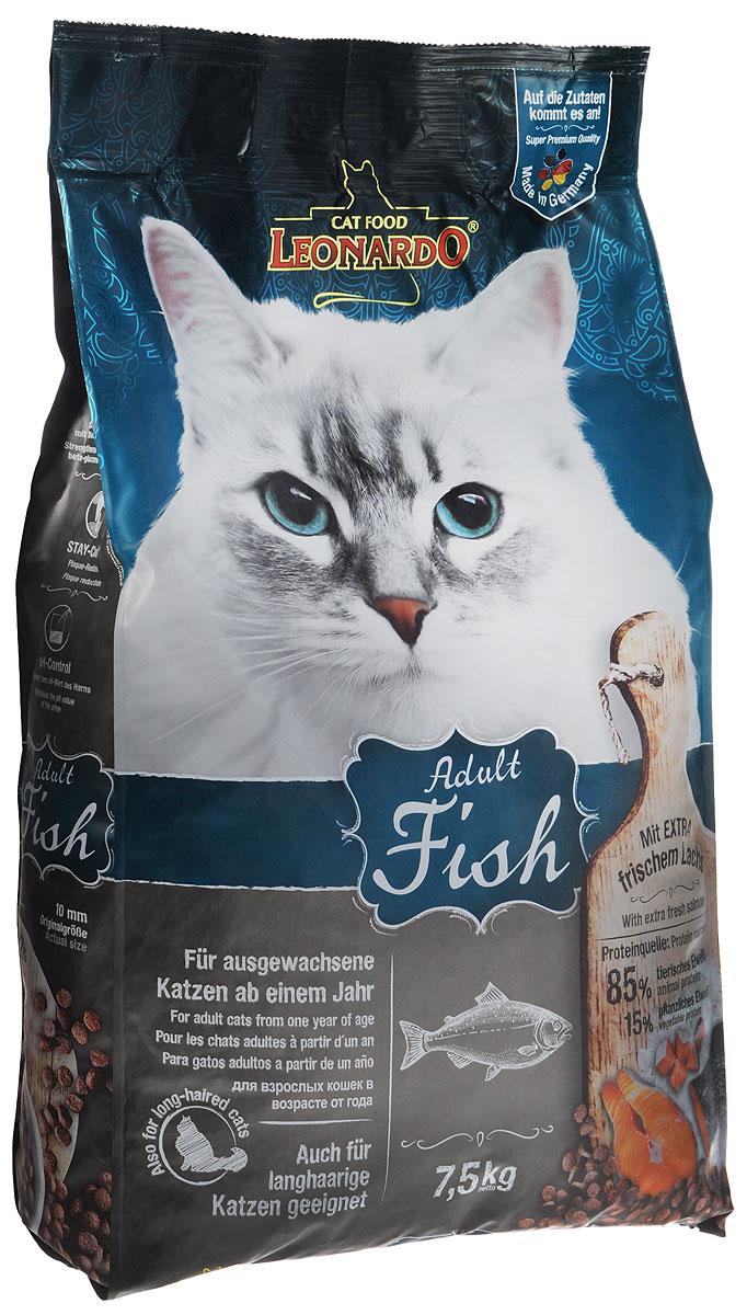 Корм сухой Leonardo Adult для взрослых кошек от 1 года, на основе морской рыбы и риса, 7,5 кг