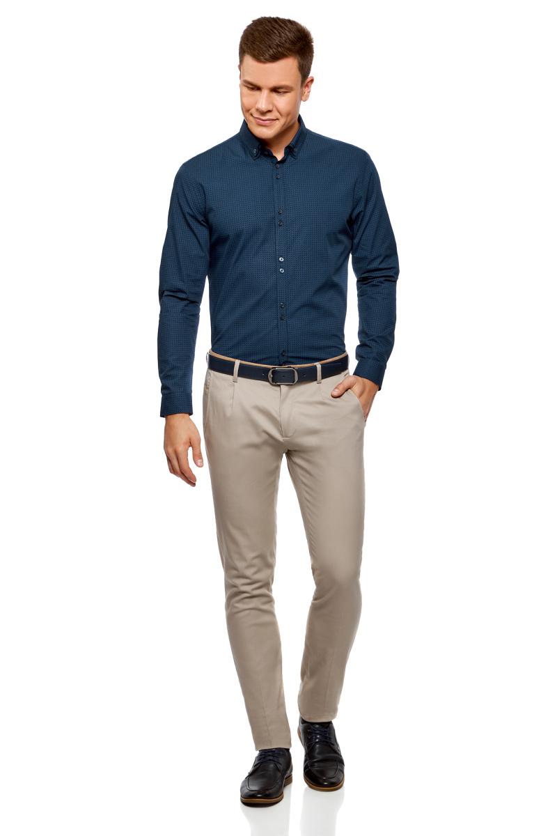 Рубашка мужская oodji Lab, цвет: темно-синий, синий. 3L110275M/44425N/7975G. Размер 37-182 (42-182)3L110275M/44425N/7975GМужская рубашка от oodji выполнена из натурального хлопка. Модель с длинными рукавами и отложным воротником застегивается на пуговицы.