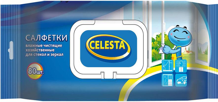 Салфетки влажные Celesta, для стекол и зеркал, с клапаном, 80 шт18990Салфетки влажные бытовые для стекол и зеркал быстро очистят стеклянные поверхности и зеркала от любых видов загрязнений и пыли. Благодаря специальной формуле пропитки не оставляют разводов и ворсинок, придают блеск обрабатываемым поверхностям.