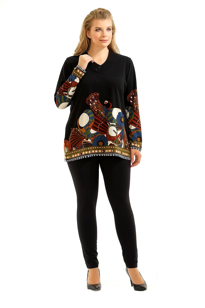Блузка женская Pretty Women Слава, цвет: черный. Размер 58СлаваЖенская блузка Pretty Women выполнена из вискозы с добавлением полиэстера. Модель с V - образным вырезом горловины и длинными рукавами оформлена принтом. Изделие дополнено на вырезе декоративными пуговицами.