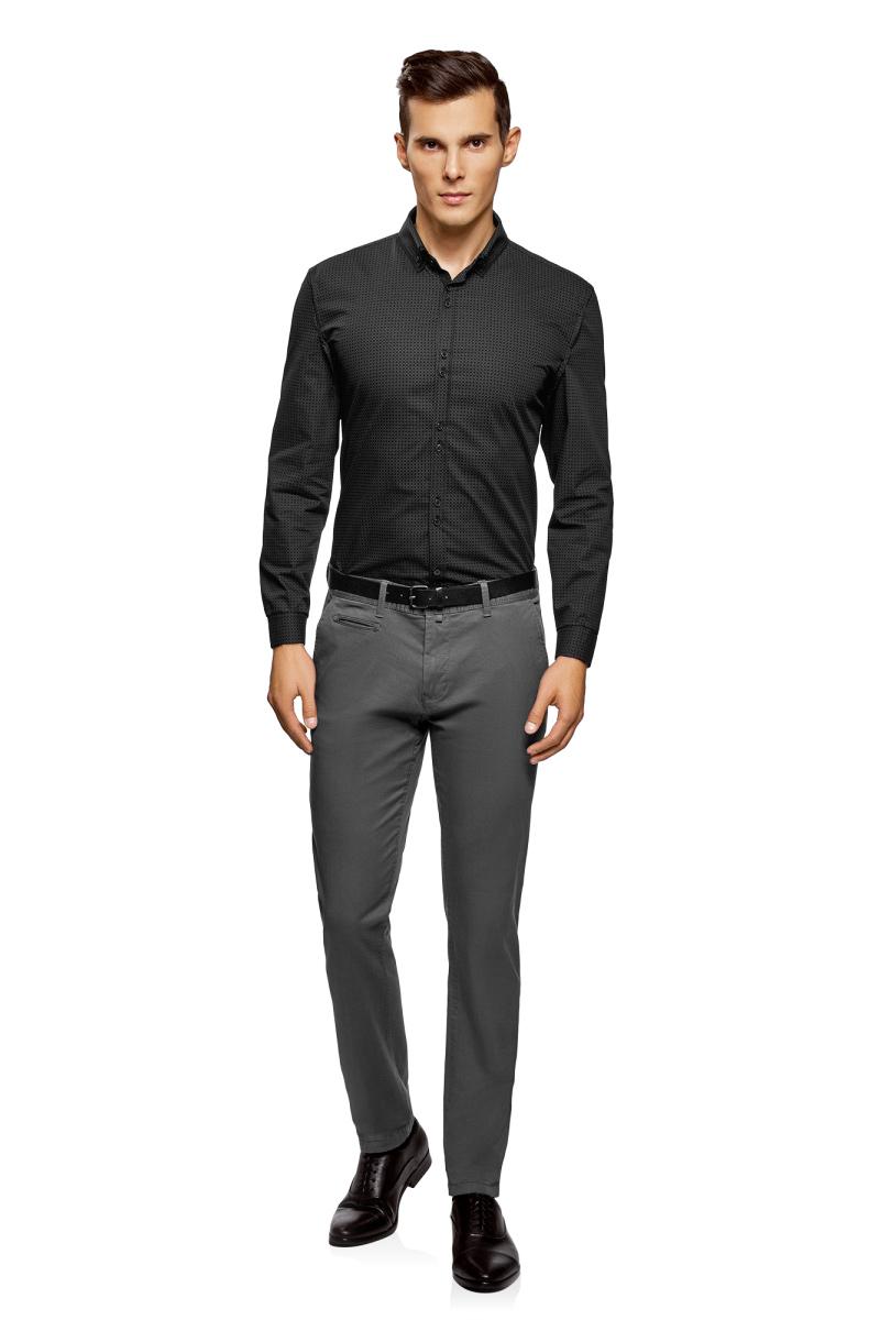 Рубашка мужская oodji Lab, цвет: черный, серый. 3L110275M/44425N/2923G. Размер 39-182 (46-182)3L110275M/44425N/2923GМужская рубашка от oodji выполнена из натурального хлопка. Модель с длинными рукавами и отложным воротником застегивается на пуговицы.