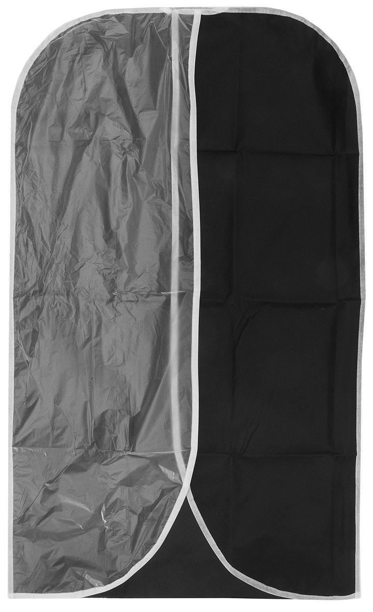 Чехол для одежды Eva, с прозрачной половиной, цвет: черный, 60 х 100 смЕ1604_черныйЧехол для одежды Eva изготовлен из полипропилена и полиэтилена низкого давления. Особое строение полипропилена создает естественную вентиляцию: материал дышит и позволяет воздуху свободно проникать внутрь чехла, не пропуская пыль. Это особенно необходимо для меховой, кожаной и шерстяной одежды. Благодаря форме чехла, одежда не мнется даже при длительном хранении. Для удобства изделие имеет прозрачную половину. Чехол для одежды будет очень полезен при транспортировке вещей на близкие и дальние расстояния, при длительном хранении сезонной одежды, а также при ежедневном хранении вещей из деликатных тканей. Чехол для одежды не только защитит ваши вещи от пыли и влаги, но и поможет доставить одежду на любое мероприятие в идеальном состоянии.Размер чехла: 60 х 100 см.