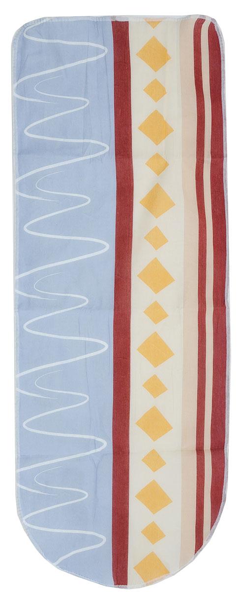 Чехол для гладильной доски Eva, цвет: серый, бежевый, коричневый, 125 х 47 смЕ13_серый, бежевый, желтый, коричневыйЧехол Eva, выполненный из хлопка и поролона, продлит срок службы вашей гладильной доски. Чехол снабжен стягивающим шнуром, при помощи которого вы легко отрегулируете оптимальное натяжение чехла и зафиксируете его на рабочей поверхности гладильной доски.Размер чехла: 125 х 47 см. Максимальный размер доски: 116 х 40 см.
