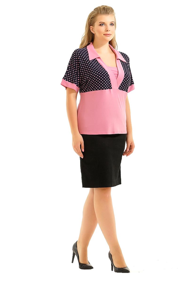 Блузка женская Pretty Women Тереза, цвет: розовый. Размер 62ТерезаЖенская блузка Pretty Women выполнена из вискозы и полиэстера. Модель с длинными рукавами, V - образным вырезом горловины и отложным воротником оформлена принтом в горох.