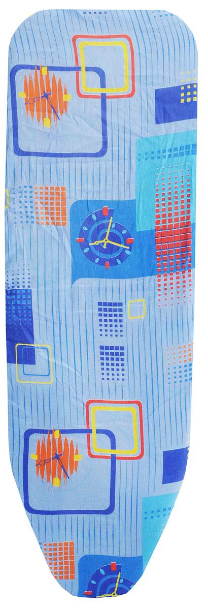 Чехол для гладильной доски Eva, с поролоном, цвет: голубой, синий, желтый, 119 х 37 смЕ1303_голубой, синий, желтыйХлопчатобумажный чехол Eva с поролоновым слоем продлитсрок службы вашей гладильной доски. Чехол снабжен прочной резинкой, припомощи которой вы легко зафиксируете его на рабочей поверхности гладильной доски. Размер чехла: 119 х 37 см.Максимальный размер доски: 110 х 30 см.