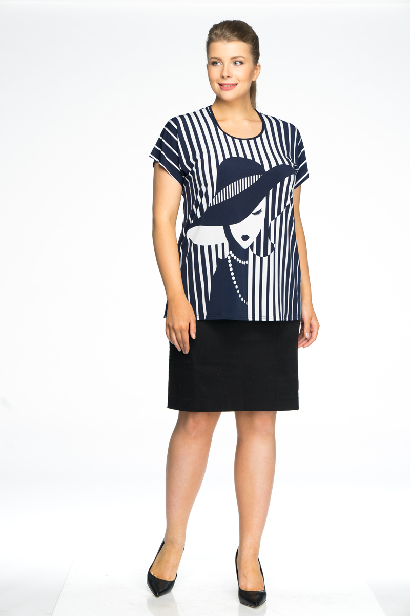 все цены на Блузка женская Pretty Women Шляпа, цвет: синий. Размер 64 в интернете