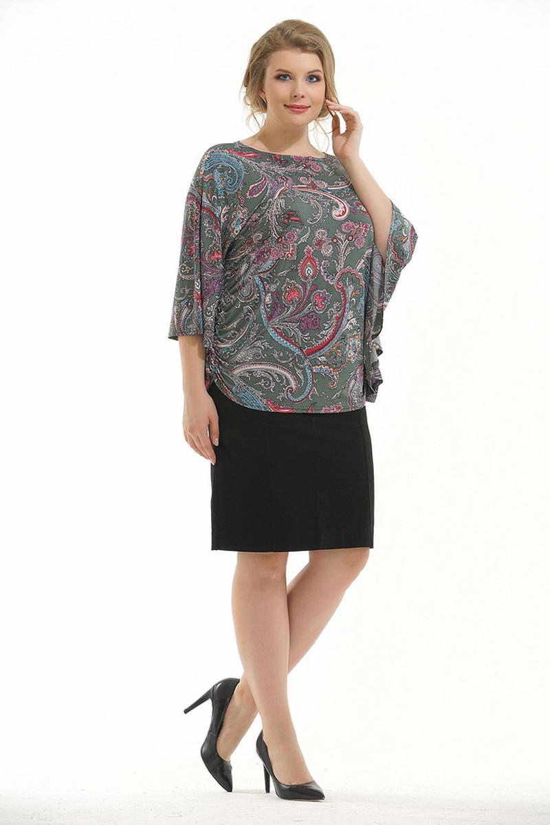 Блузка женская Pretty Women Элеонора, цвет: зеленый. Размер 62ЭлеонораЖенская блузка Pretty Women выполнена из вискозы и полиэстера. Модель с круглым вырезом горловины и длинными рукавами оформлена принтом. Блузка пошита в виде кимоно, идеально скроет изъяны фигуры.