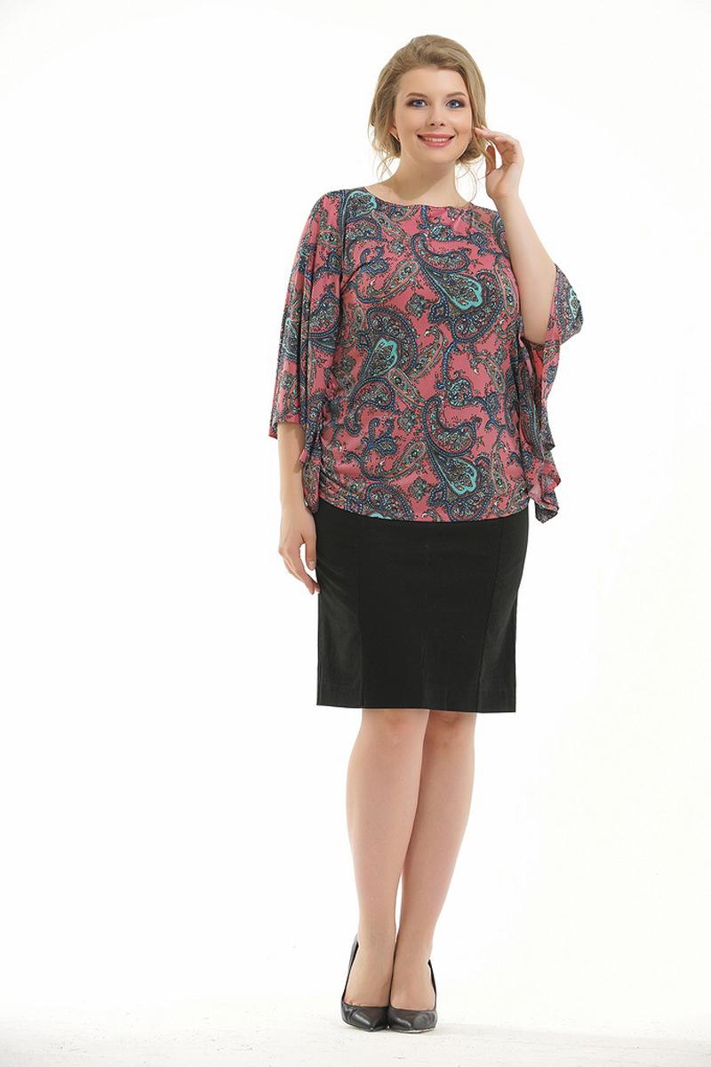Блузка женская Pretty Women Элеонора, цвет: коралловый. Размер 64ЭлеонораЖенская блузка Pretty Women выполнена из вискозы и полиэстера. Модель с круглым вырезом горловины и длинными рукавами оформлена принтом. Блузка пошита в виде кимоно, идеально скроет изъяны фигуры.