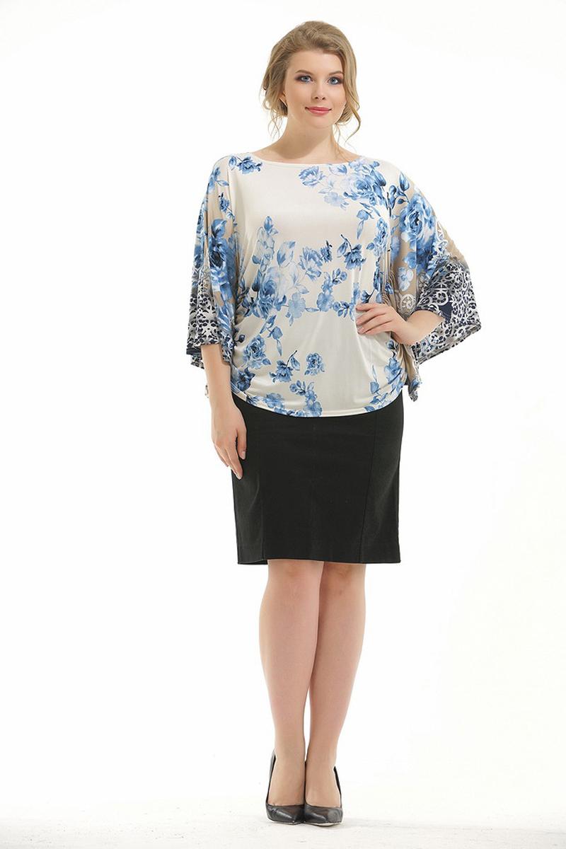 Блузка женская Pretty Women Элеонора, цвет: синий. Размер 54ЭлеонораБлузка пошита в виде кимоно, идеально скроет изъяны фигуры. Подойдет так же и для домашней носки