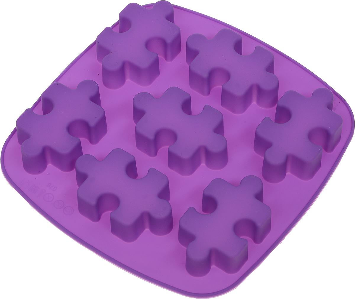 Форма для выпечки Доляна Пазлы, силиконовая, цвет: фиолетовый, 17 х 18 х 2 см, 7 ячеек1857437_фиолетовыйФорма Доляна Пазлы, изготовленная из силикона, имеет 7 ячеек в виде мозаики. Силиконовые формы для выпечки имеют множество преимуществ по сравнению с традиционными металлическими формами и противнями. Нет необходимости смазывать форму маслом. Форма быстро нагревается, равномерно пропекает, не допускает подгорания выпечки с краев или снизу.Вынимать продукты из формы очень легко. Слегка выверните края формы или оттяните в сторону, и ваша выпечка легко выскользнет из формы. Материал устойчив к фруктовым кислотам, не ржавеет, на нем не образуются пятна. Форма может быть использована в духовках и микроволновых печах (выдерживает температуру от -40°С до +250°С), также ее можно помещать в морозильную камеру и холодильник. Можно мыть в посудомоечной машине.Размер формы: 17 х 18 х 2 см.Размер ячеек: 6,5 х 4 х 2 см.