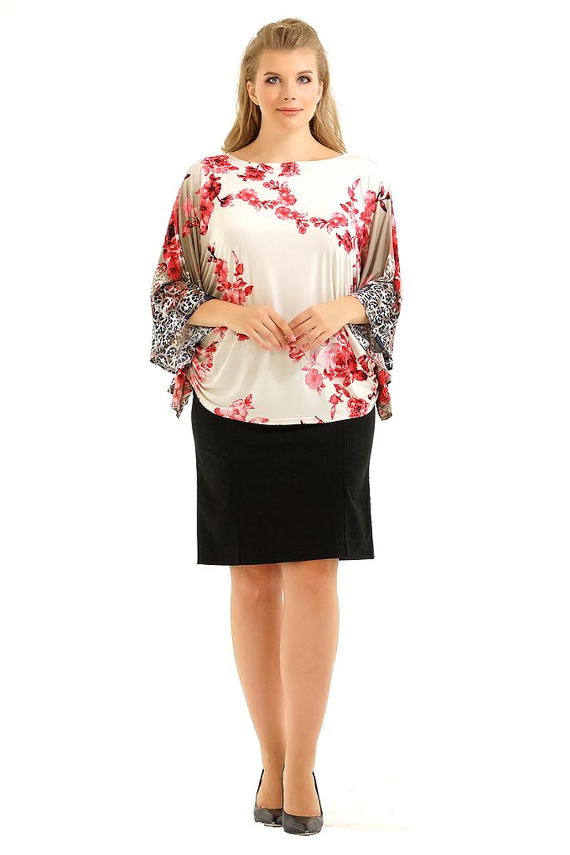 Блузка женская Pretty Women Элеонора, цвет: сиреневый. Размер 62ЭлеонораЖенская блузка Pretty Women выполнена из вискозы и полиэстера. Модель с круглым вырезом горловины и длинными рукавами оформлена принтом. Блузка пошита в виде кимоно, идеально скроет изъяны фигуры.