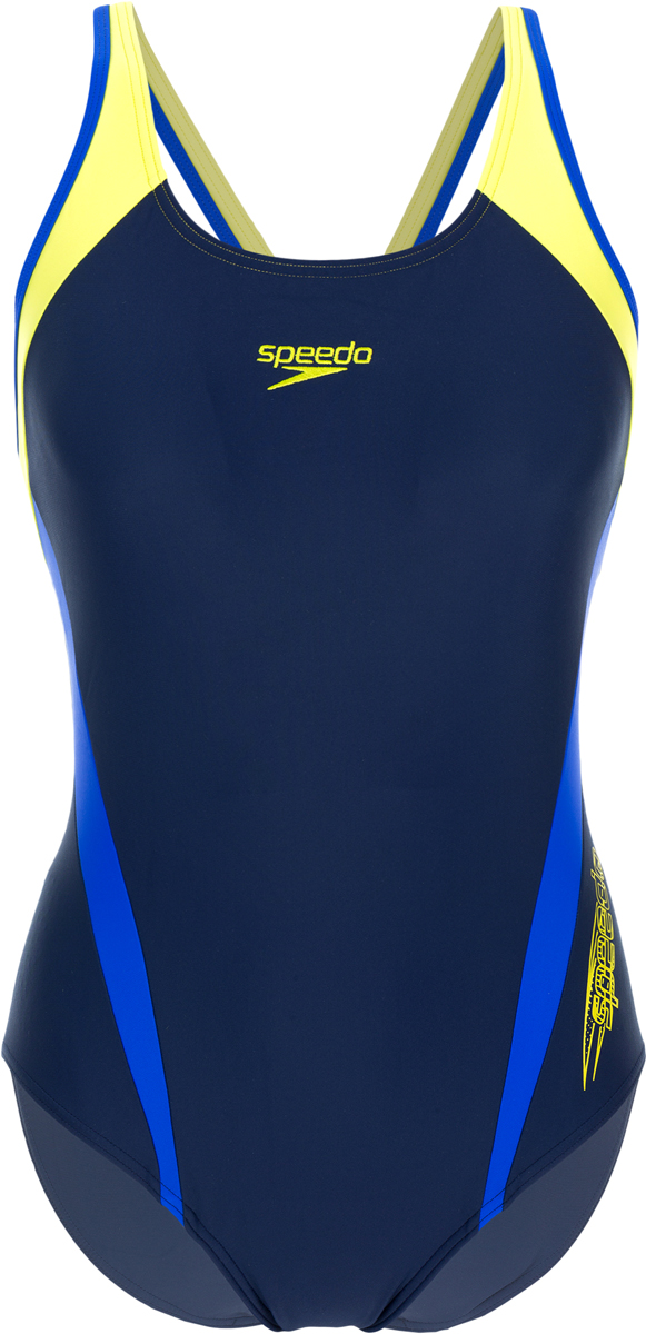 Купальник слитный Speedo Logo Splice Muskleback, цвет: синий, желтый. 8-09692B799-B799. Размер 28 (38/40)8-09692B799-B799Женский купальник от Speedo разработан для занятий плаванием в бассейне. Ткань с технологией Endurance 10 в 10 раз устойчивее к воздействию хлорированной воды, чем аналоги.Эластичная ткань и регулируемая талия обеспечивают максимально комфортную посадку. Технологичный материал поглощает меньше воды, быстрее сохнет и отличается долговечностью.Материал с фактором защиты от ультрафиолета UPF 50 блокирует вредное солнечное излучение.