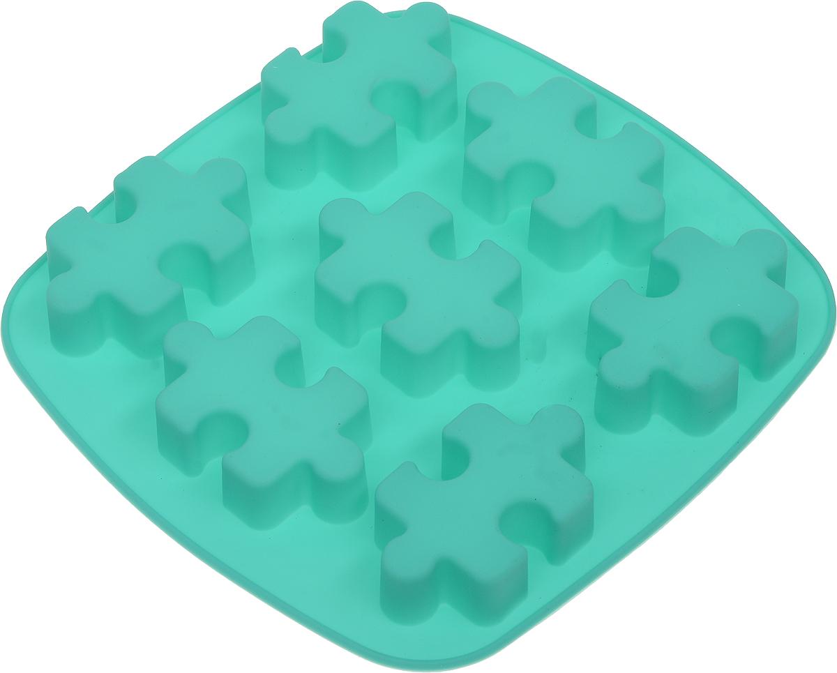Форма для выпечки Доляна Пазлы, силиконовая, цвет: бирюзовый, 17 х 18 х 2 см, 7 ячеек1857437_бирюзовыйФорма Доляна Пазлы, изготовленная из силикона, имеет 7 ячеек в виде мозаики. Силиконовые формы для выпечки имеют множество преимуществ по сравнению с традиционными металлическими формами и противнями. Нет необходимости смазывать форму маслом. Форма быстро нагревается, равномерно пропекает, не допускает подгорания выпечки с краев или снизу.Вынимать продукты из формы очень легко. Слегка выверните края формы или оттяните в сторону, и ваша выпечка легко выскользнет из формы. Материал устойчив к фруктовым кислотам, не ржавеет, на нем не образуются пятна. Форма может быть использована в духовках и микроволновых печах (выдерживает температуру от -40°С до +250°С), также ее можно помещать в морозильную камеру и холодильник. Можно мыть в посудомоечной машине.Размер формы: 17 х 18 х 2 см.Размер ячеек: 6,5 х 4 х 2 см.