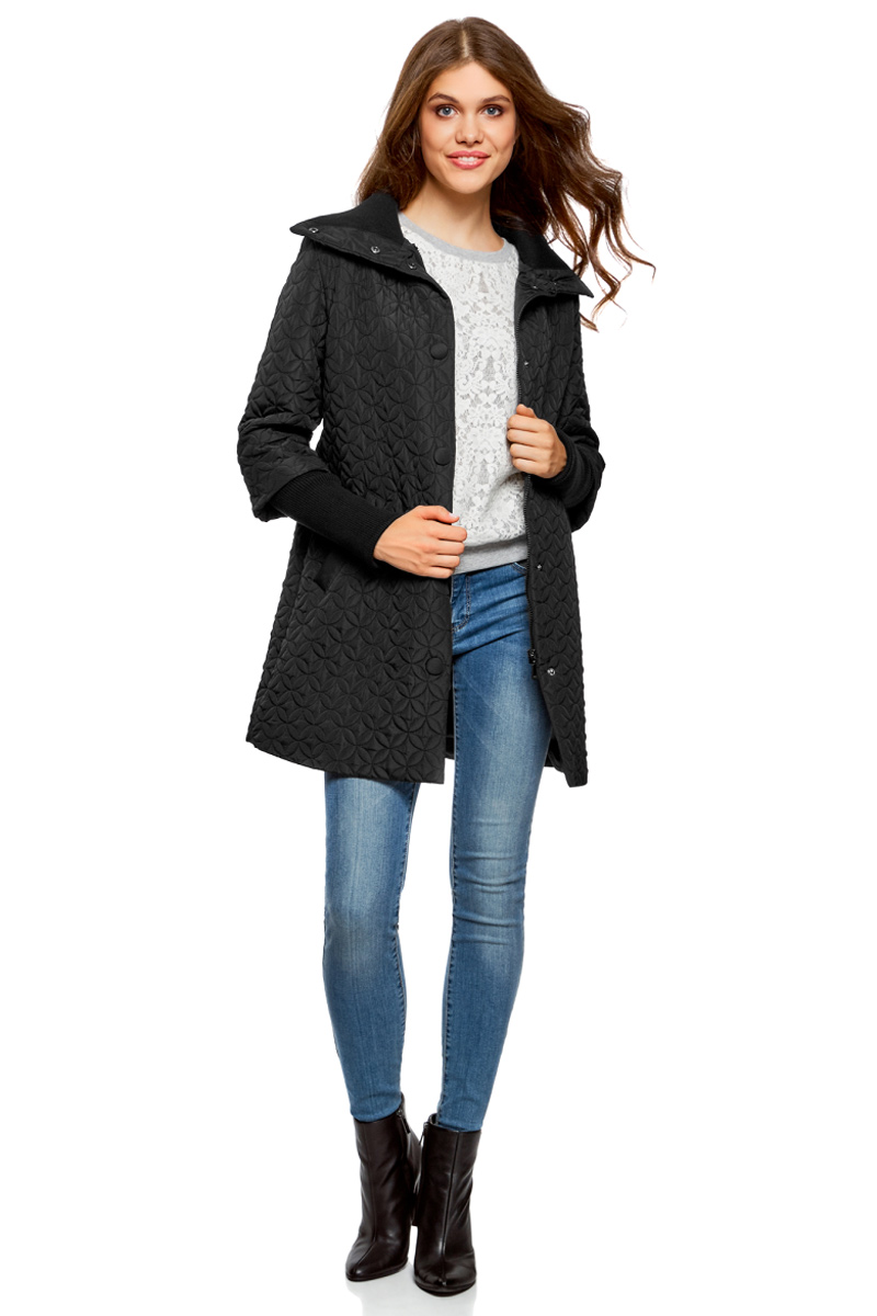 Пальто женское oodji Collection, цвет: черный. 28303004/47200/2900N. Размер 38-170 (44-170) платье oodji collection цвет черный белый 24001104 1 35477 1079s размер l 48