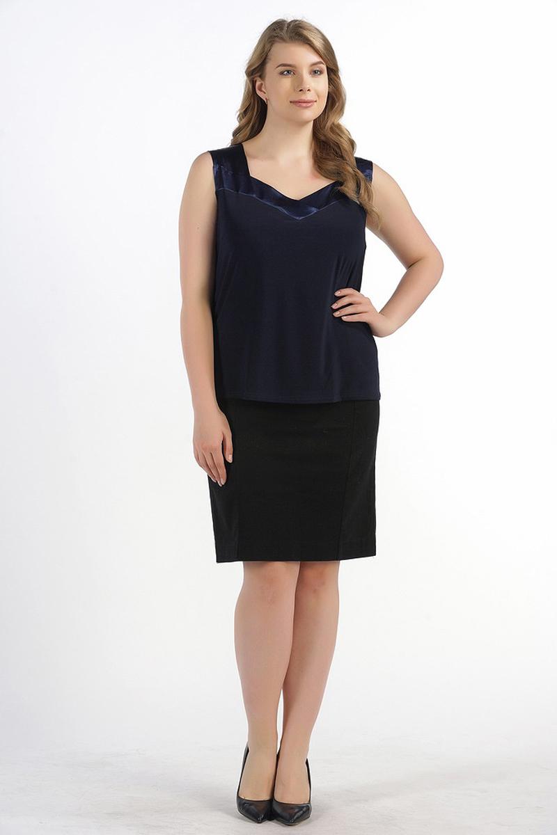Блузка женская Pretty Women Эмма, цвет: синий. Размер 64ЭммаЖенская блузка Pretty Women выполнена из вискозы и полиэстера. Модель без рукавов и V - образным вырезом горловины.