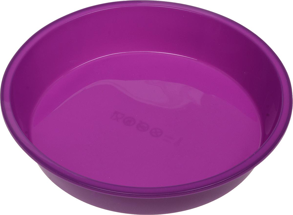 Форма для выпечки Доляна Круг, силиконовая, цвет: фиолетовый, диаметр 22 см1000345_фиолетовыйФорма Доляна Круг изготовлена из силикона.Силиконовые формы для выпечки имеют множество преимуществ по сравнению с традиционными металлическими формами и противнями. Нет необходимости смазывать форму маслом. Форма быстро нагревается, равномерно пропекает, не допускает подгорания выпечки с краев или снизу.Вынимать продукты из формы очень легко. Слегка выверните края формы или оттяните в сторону, и ваша выпечка легко выскользнет из формы. Материал устойчив к фруктовым кислотам, не ржавеет, на нем не образуются пятна. Форма может быть использована в духовках и микроволновых печах (выдерживает температуру от -40°С до +250°С), также ее можно помещать в морозильную камеру и холодильник. Можно мыть в посудомоечной машине.Диаметр формы (по верхнему краю): 22 см.Высота стенки формы: 4 см.