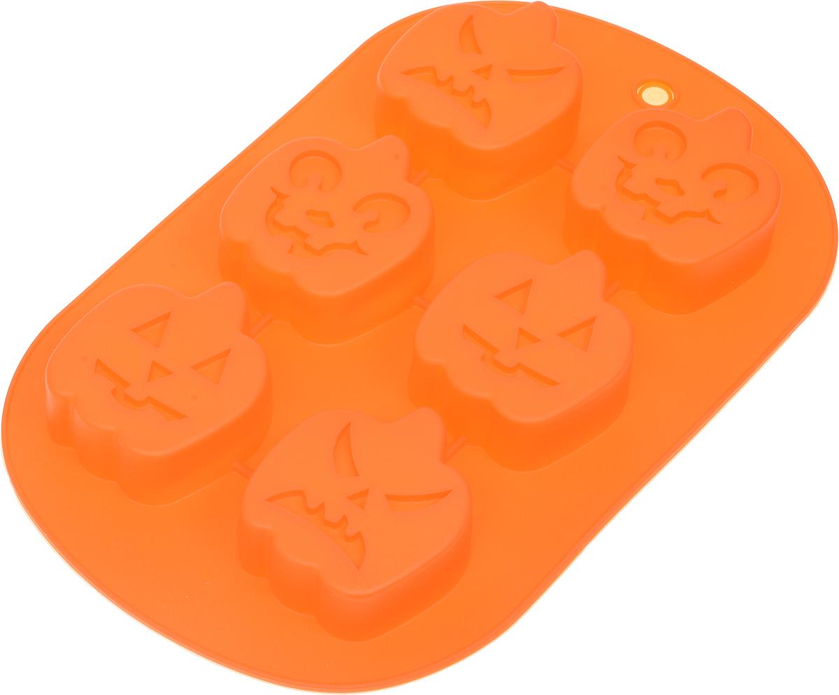 Форма для выпечки Доляна Тыква, силиконовая, цвет: оранжевый, 27 х 17 х 3 см, 6 ячеек1403935_оранжевыйФорма Доляна Тыква, изготовленная из силикона, выполнена в виде фигурок тыквы с забавными мордашками. Такой выпечкой можно приятно удивить друзей на Хэллоуин.Силиконовые формы для выпечки имеют множество преимуществ по сравнению с традиционными металлическими формами и противнями. Нет необходимости смазывать форму маслом. Форма быстро нагревается, равномерно пропекает, не допускает подгорания выпечки с краев или снизу.Вынимать продукты из формы очень легко. Слегка выверните края формы или оттяните в сторону, и ваша выпечка легко выскользнет из формы. Материал устойчив к фруктовым кислотам, не ржавеет, на нем не образуются пятна. Форма может быть использована в духовках и микроволновых печах (выдерживает температуру от -40°С до +250°С), также ее можно помещать в морозильную камеру и холодильник. Можно мыть в посудомоечной машине.Размер формы: 27 х 17 х 3 см.Средний размер ячеек: 5,5 х 6 х 2,5 см.