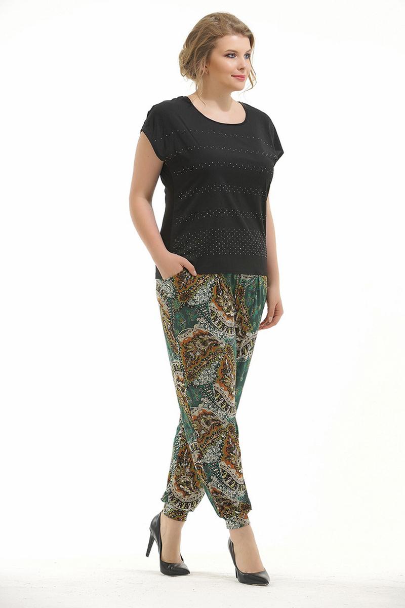Брюки женские Pretty Women Карман, цвет: зеленый. Размер 64КарманСтильные брюки Pretty Women свободного кроя выполнены из вискозы и полиэстера и оформлены принтом. Брюки дополнены на талии эластичной резинкой, по бокам врезными карманами и по низу брючин манжетами.