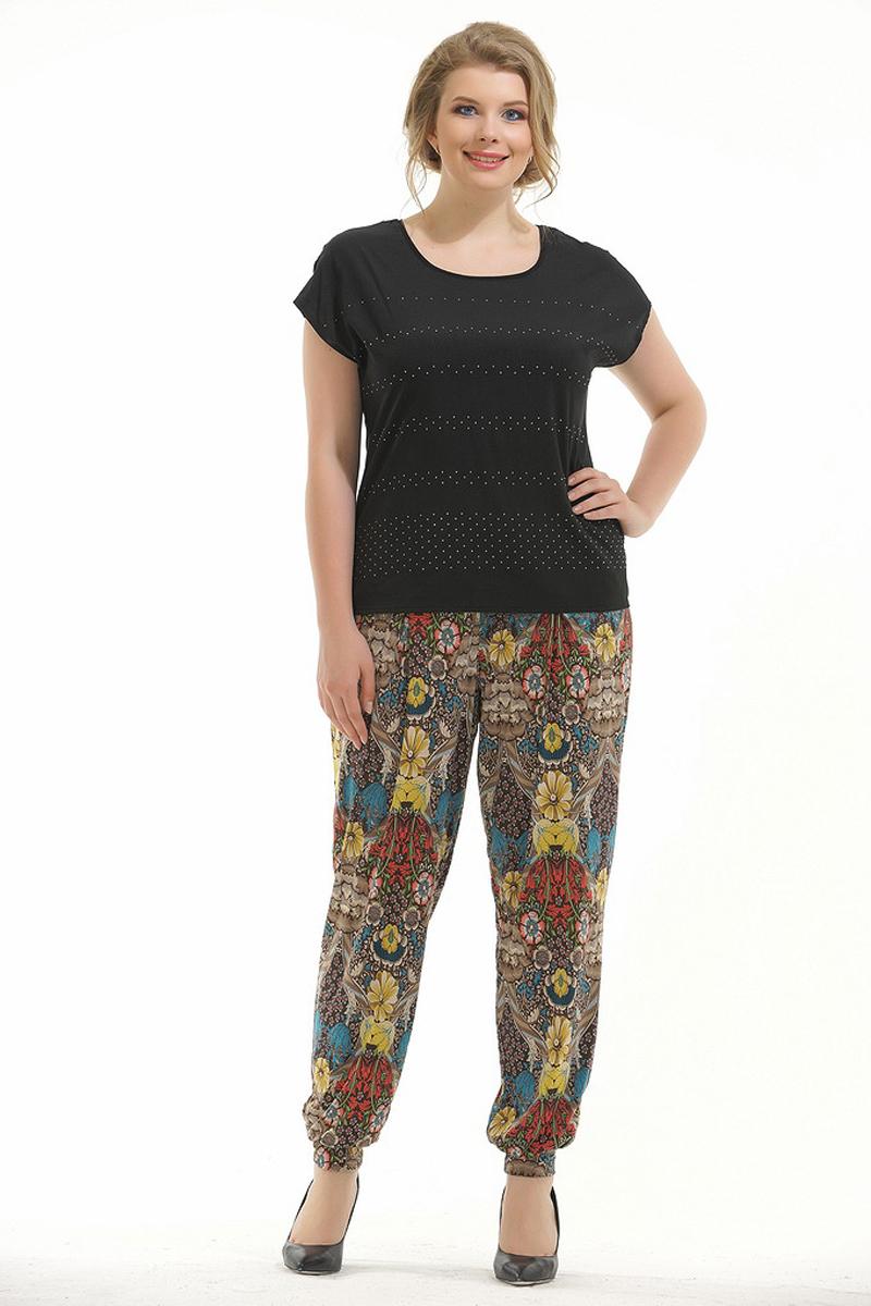 Брюки женские Pretty Women Карман, цвет: синий. Размер 64КарманСтильные брюки Pretty Women свободного кроя выполнены из вискозы и полиэстера, и оформлены принтом. Брюки дополнены на талии эластичной резинкой, по бокам врезными карманами и по низу брючин манжетами.