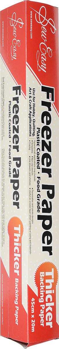 Бумага для заморозки SewEasy Freezer Paper, 45 см х 20 м. ER99901123-225Бумага для заморозки SewEasy Freezer Paper используется в пэчворке для формирования отдельных блоков, сборки кругов и прочем, а также очень удобна для аппликации. Активно используется в японском пэчворке. Бумага приклеивается к ткани утюгом (блестящей стороной). После использования легко отклеивается, не оставляя никаких следов. Можно использовать многократно.Размеры: 45 см х 20 м.