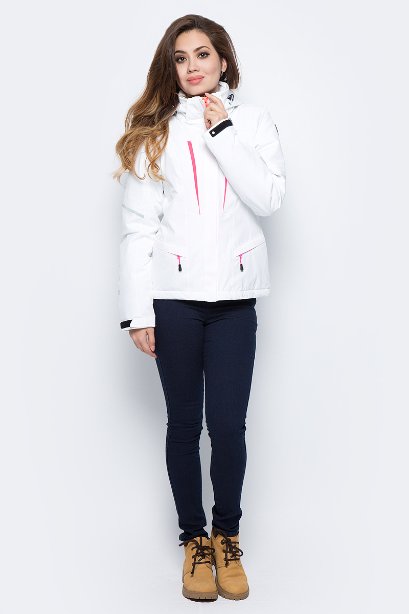 Куртка жен Icepeak, цвет: белый. 853108535IV_980. Размер 42 (48)853108535IV_980Горнолыжная куртка от Icepeak выполнена из водонепроницаемого и ветрозащитного материала. Модель с длинными рукавами и съемным капюшоном застегивается на молнию. Рукава по низу дополнены хлястиками на липучках. Куртка дополнена прорезными карманами на молниях и внутренним сетчатым кармашком.