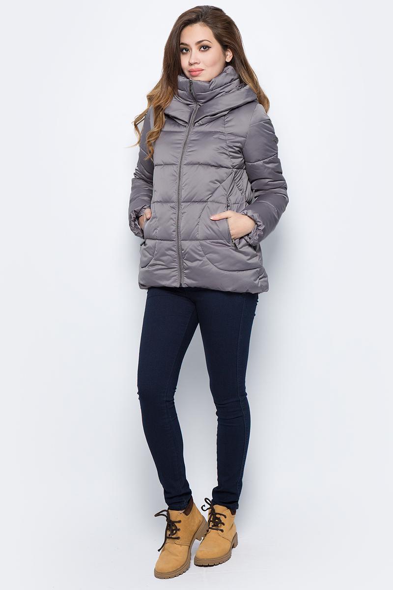 Куртка женская Grishko, цвет: серый. AL - 3292. Размер 46AL - 3292Стильная куртка матого оттенка с прорезными карманами на молнии и глубоким капюшоном. Утеплитель 100% микрофайбер.