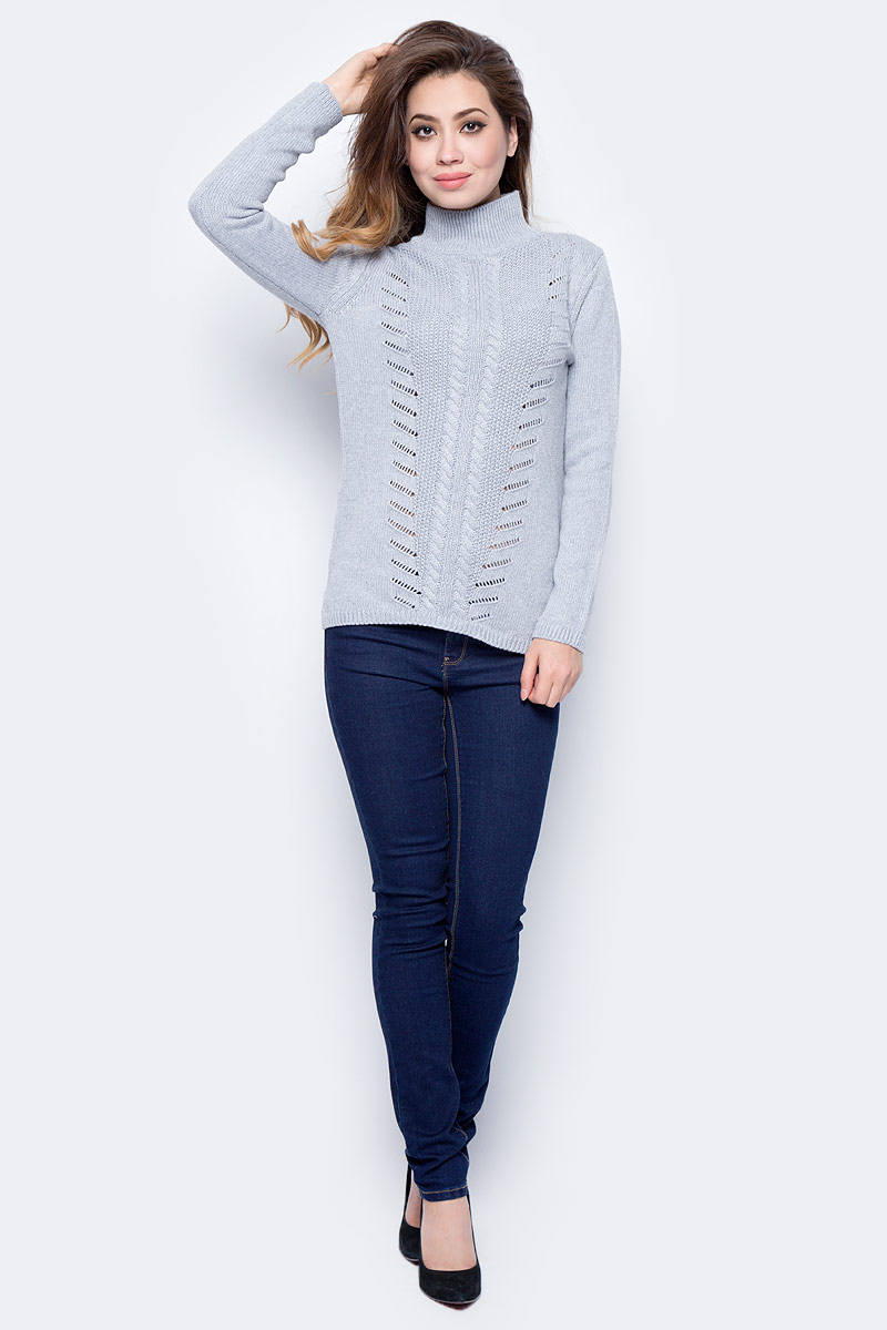 Джемпер женский Sela, цвет: серый меланж. JR-314/2028-7422. Размер L (48)JR-314/2028-7422