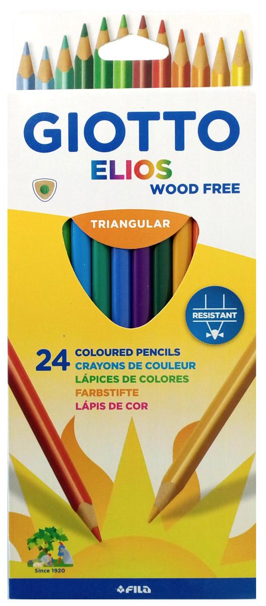Giotto Набор цветных карандашей Elios Tri 24 цвета275900Набор цветных карандашей Giotto Elios Tri изготовлен изполимера. Карандаши легко и экономично затачиваются, не крошатся. Толщинагрифеля - 3,3 мм. Яркие, насыщенные цвета, максимально мягкое рисование иидеальное размытие водой. На корпусе карандаша имеется место дляперсонализации.