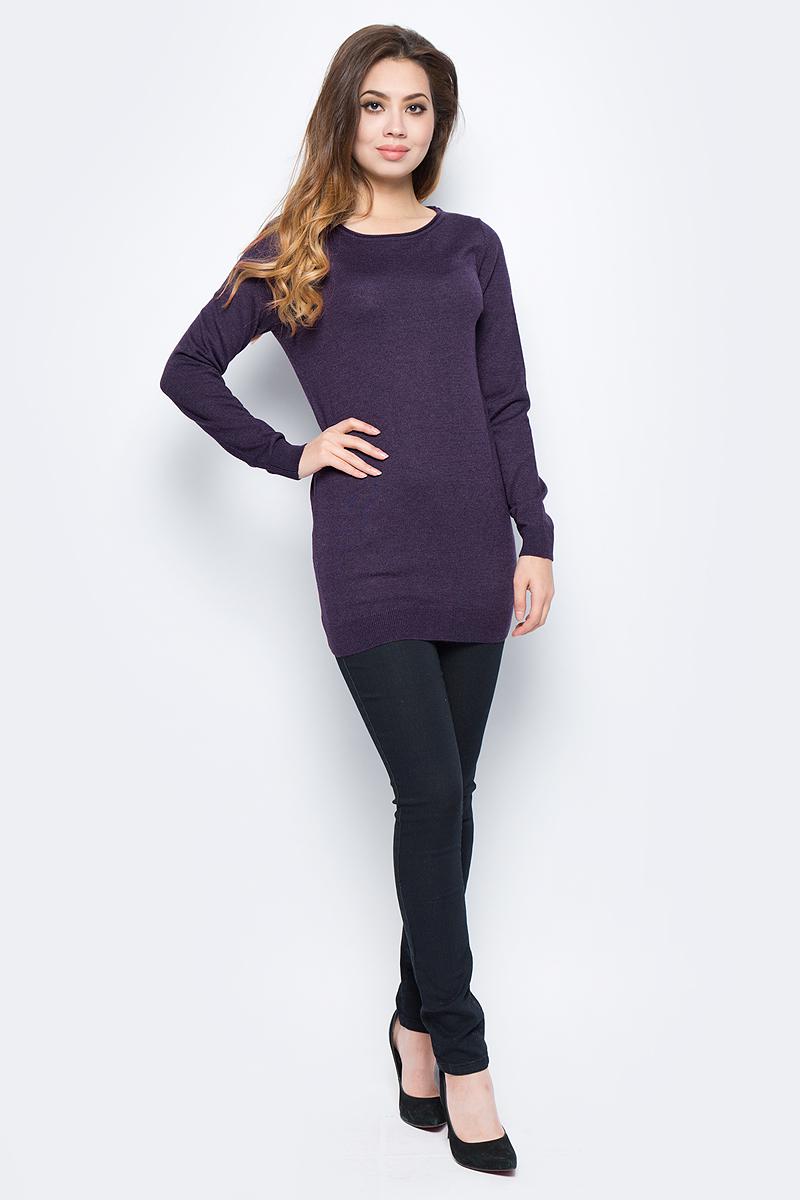 Джемпер женский Sela, цвет: темно-пурпурный. JR-114/1253-7442. Размер S (44)JR-114/1253-7442Женский джемпер от Sela выполнен из пряжи сложного состава. Удлиненная модель полуприлегающего силуэта с длинными рукавами и круглым вырезом горловины.