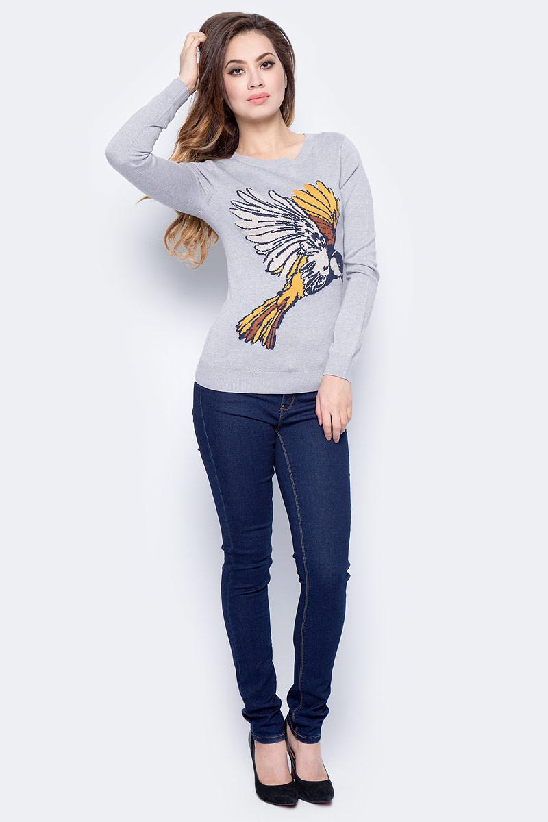 Джемпер женский Sela, цвет: бежевый меланж. JR-314/2027-7422. Размер XL (50)JR-314/2027-7422