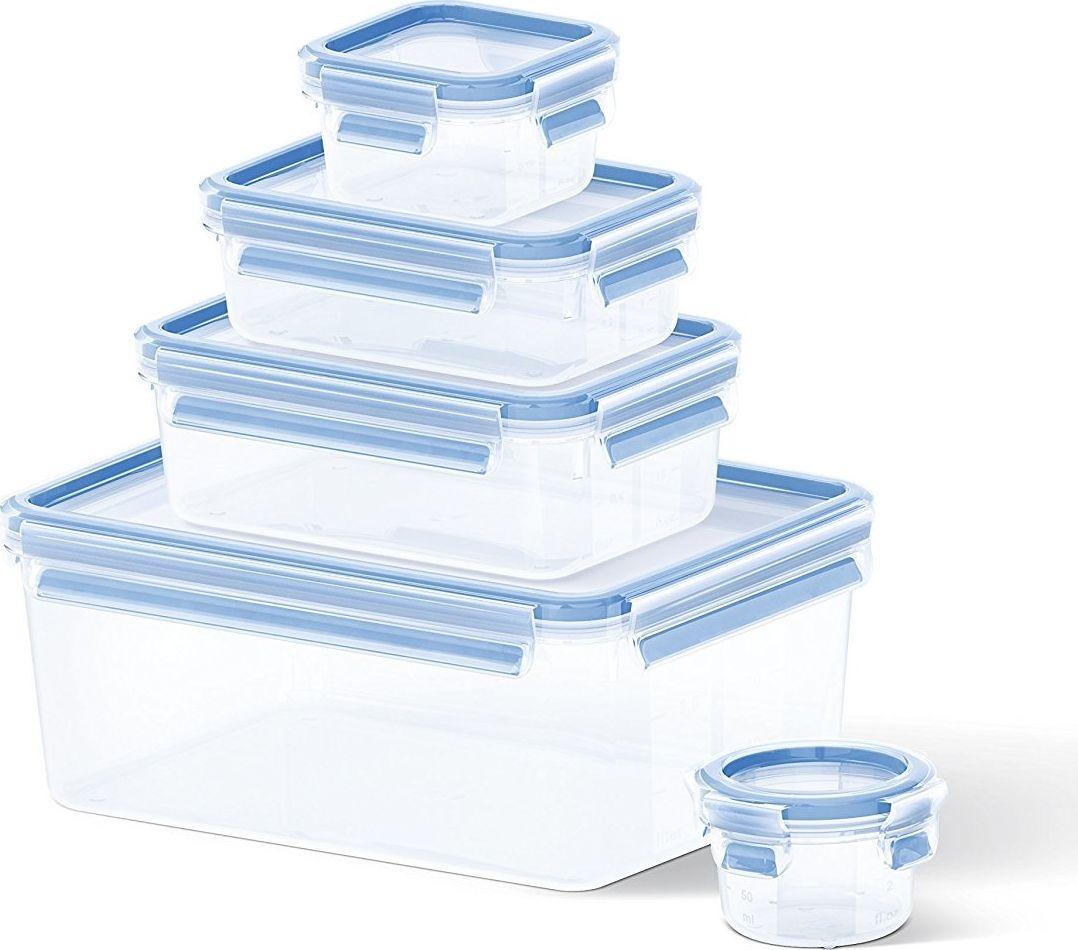 Набор контейнеров Emsa Clip & Close, цвет: синий, 5 шт508568Набор из 5 контейнеров CLIP&CLOSE 0,15л/0,25л/0,55л/1л/3,7л