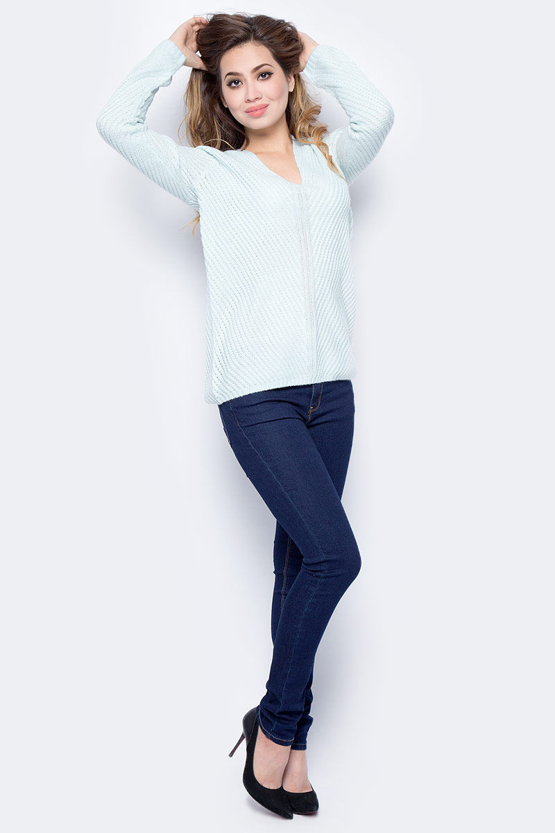 Джемпер женский Sela, цвет: снежный ментол. JR-114/1231-7452. Размер L (48)JR-114/1231-7452