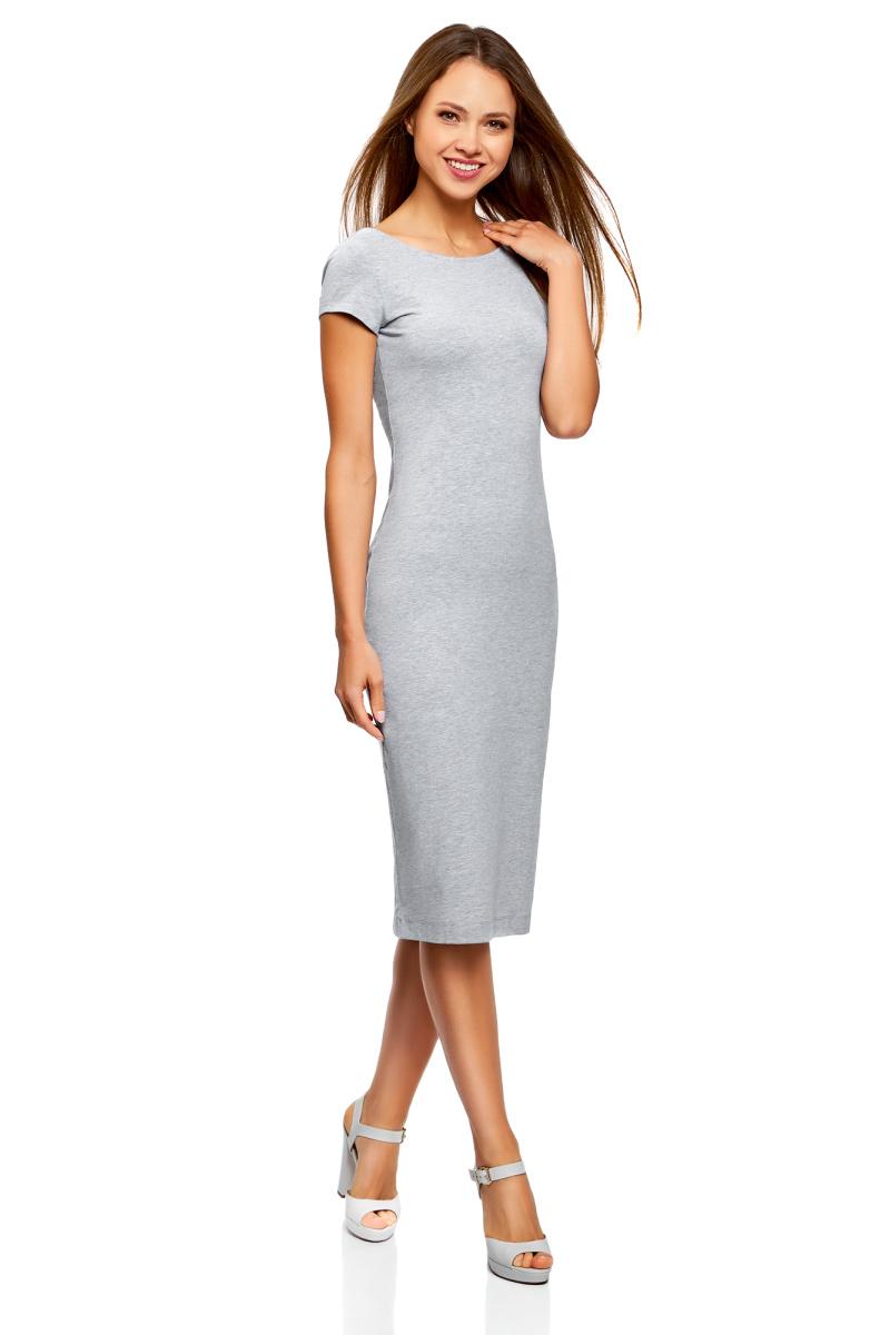 Платье oodji Collection, цвет: светло-серый меланж. 24001104-5B/47420/2000M. Размер XL (50)24001104-5B/47420/2000MСтильное платье oodji изготовлено из качественного материала на основе хлопка. Облегающая модель с круглой горловиной и короткими рукавами. Спинка выполнена с глубоким круглым вырезом.