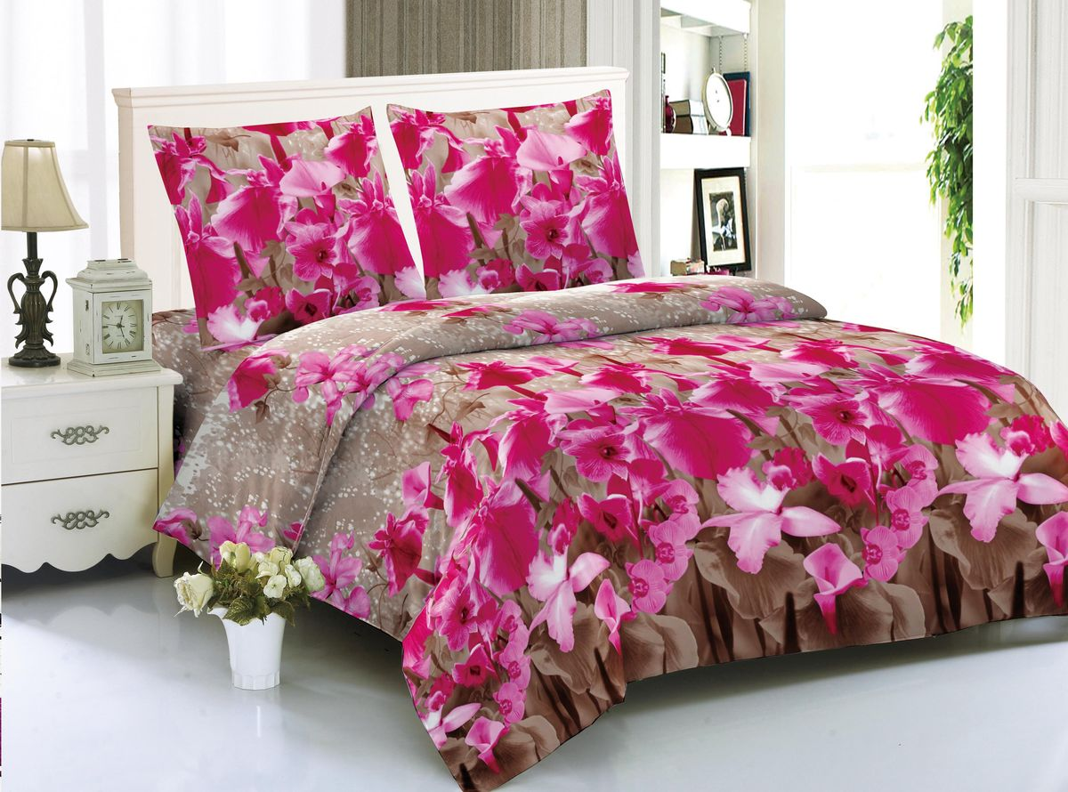 Комплект белья Amore Mio Sapporo, 1,5-спальный, наволочки 70x70, цвет: коричневый, розовый