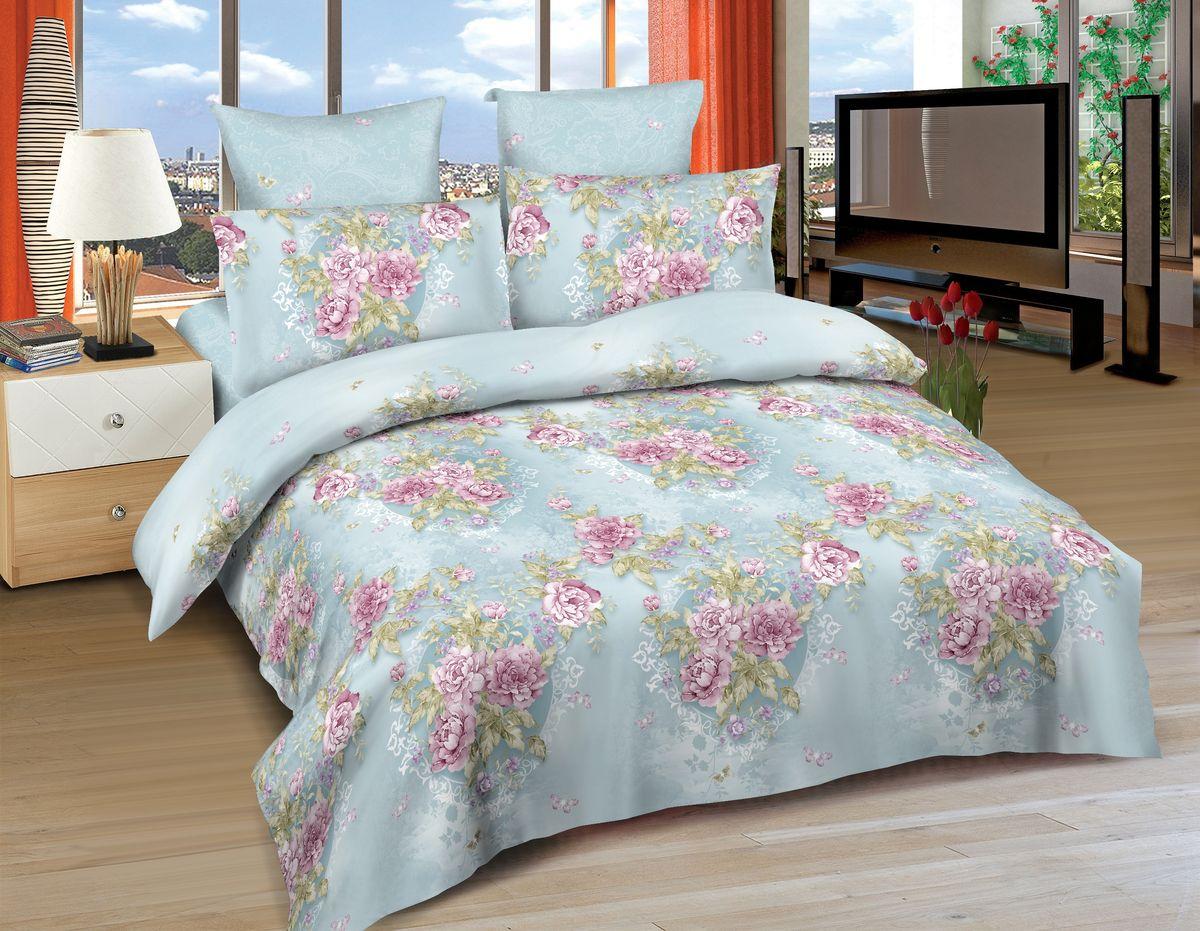 Комплект белья Amore Mio Verona, 1,5-спальный, наволочки 70x70, цвет: голубой, розовый