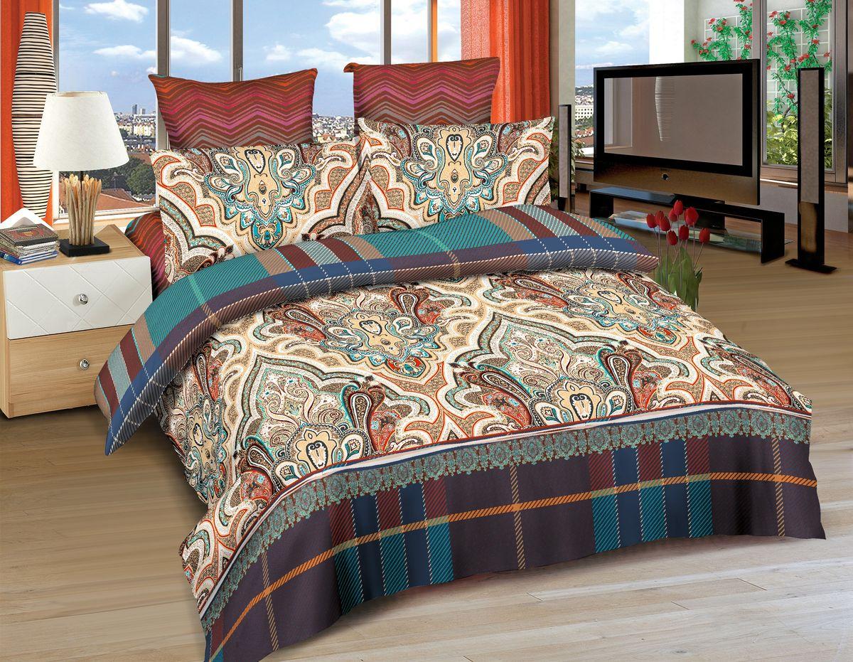 Комплект белья Amore Mio Pathan, 2-спальный, наволочки 70x70, цвет: коричневый, голубой, красный, оранжевый