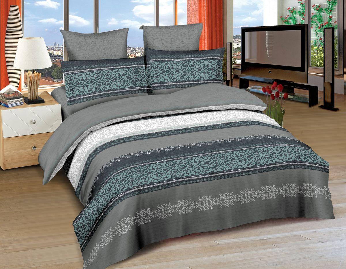 Комплект белья Amore Mio Vestfold, 2-спальный, наволочки 70x70, цвет: серый, белый, зеленый86504Постельное белье Amore Mio из сатина - оригинальные дизайны и отменное качество. Ткань изготовлена из 100% хлопка, плотная и легкая, яркие рисунки, отменное качество пошива.