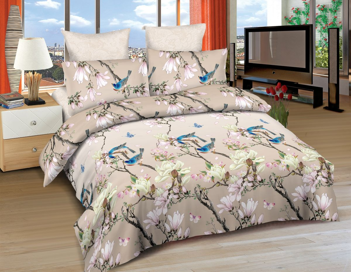 Комплект белья Amore Mio Vegas, евро, наволочки 70x70, 50x70, цвет: бежевый, голубой, розовый86509Постельное белье Amore Mio из сатина - оригинальные дизайны и отменное качество. Ткань изготовлена из 100% хлопка, плотная и легкая, яркие рисунки, отменное качество пошива.