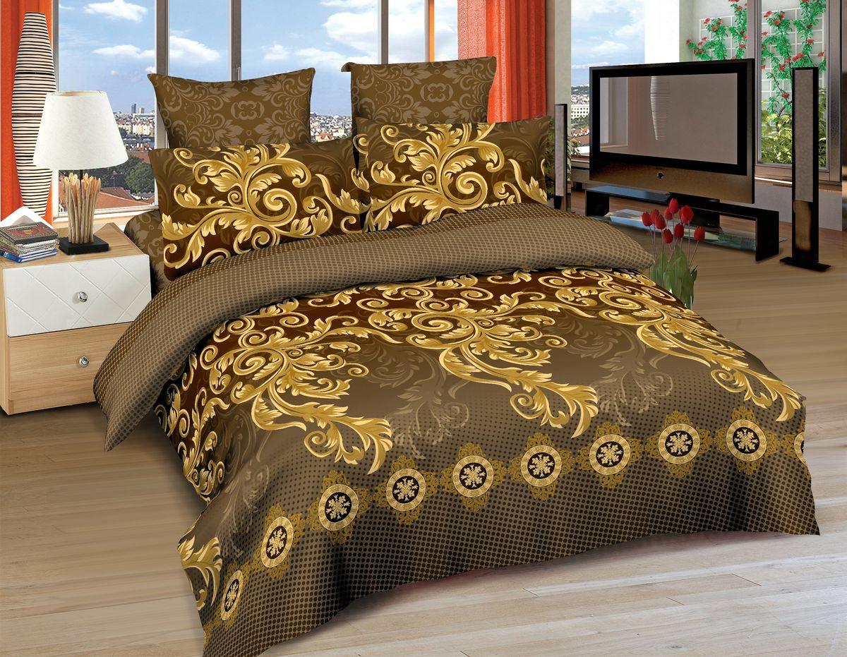 Комплект белья Amore Mio Fortaleza, евро, наволочки 70x70, 50x70, цвет: коричневый, желтый