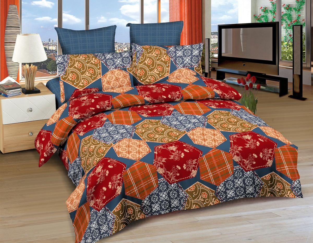 Комплект белья Amore Mio Cairo, евро, наволочки 70x70, 50x70, цвет: синий, красный, оранжевый86514Постельное белье Amore Mio из сатина - оригинальные дизайны и отменное качество. Ткань изготовлена из 100% хлопка, плотная и легкая, яркие рисунки, отменное качество пошива.