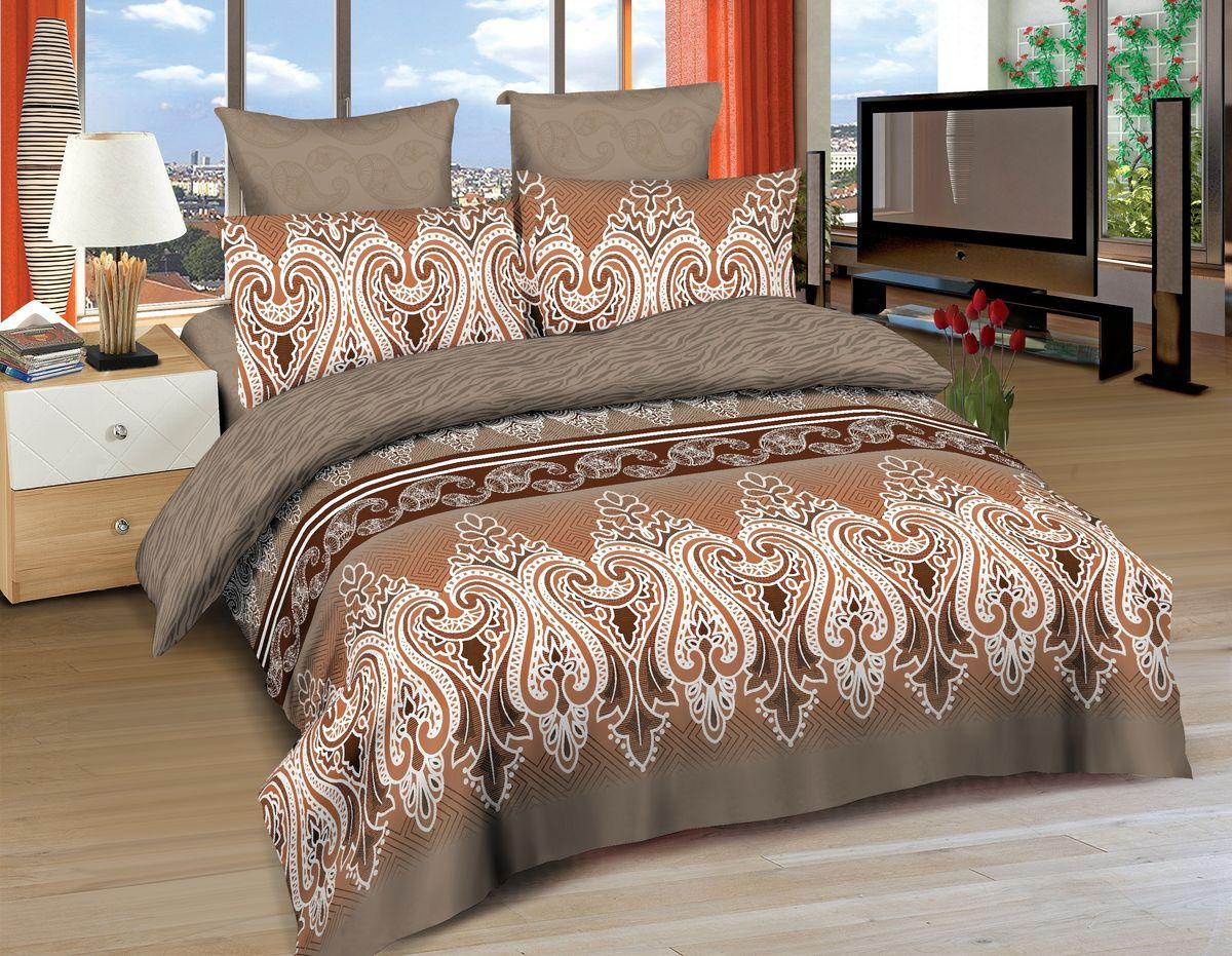 Комплект белья Amore Mio Tabriz, евро, наволочки 70x70, 50x70, цвет: коричневый, белый