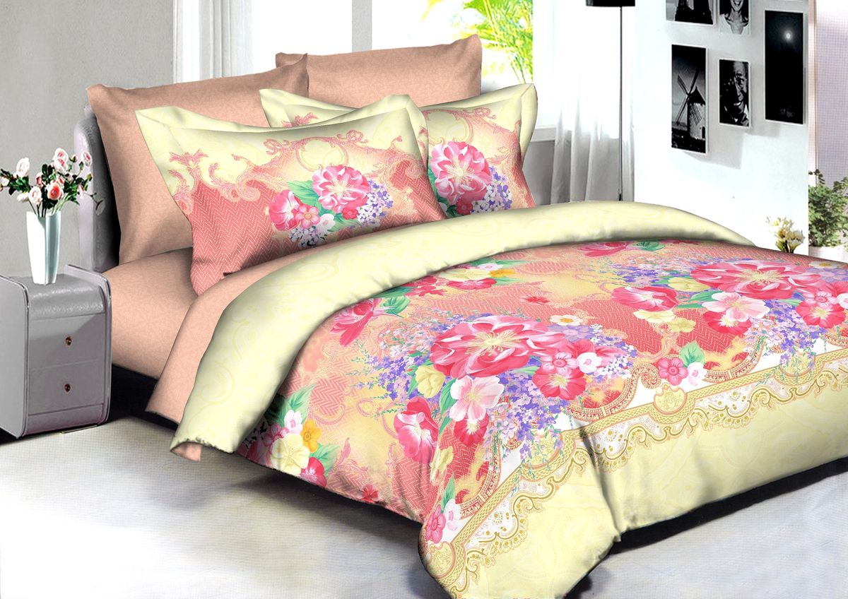 Комплект белья Buenas Noches Jakarta, 2-спальный, наволочки 70x70, 50x70, цвет: желтый, розовый86580В постельном белье Buenas noches используется сатин премиального качества, плотный, шелковистый, с широким списком исключительных свойств. Яркий насыщенный цвет обеспечен высоким качеством печати устойчивыми гипоаллергенными активными красителями. Аккуратный и качественный пошив на нашем высокотехнологичном производстве. Кнопки на пододеяльнике - наше ноу-хау - обеспечит комфорт и практичность. Богатый выбор классических и современных дизайнов. ригинальный дизайн наволочек не только удобен для сна, но и украшает постель. Наше постельное белье сохраняет первоначальный внешний вид долгие годы.Яркий насыщенный цвет обеспечен высоким качеством печати устойчивыми гипоаллергенными активными красителями. Аккуратный и качественный пошив на нашем высокотехнологичном производстве.Увеличенные размеры простынейКнопки на пододеяльнике - наше ноу-хау - обеспечит комфорт и практичность. Оригинальный дизайн наволочек не только удобен для сна, но и украшает постель. Наше постельное белье сохраняет п