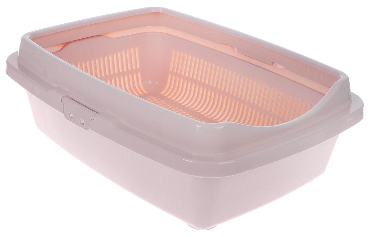 Туалет для кошек DD Style Догуш, с бортом и сеткой, цвет: пепельно-розовый, 36 х 49,5 х 16,7 смТуалет для кошек бол.полн.комплектация пепл.-роз.(уп.15) арт.238Туалет для кошек DD Style Догуш изготовлен из качественного прочного пластика. Высокий борт, прикрепленный по периметру лотка, удобно защелкивается и предотвращает разбрасывание наполнителя. Благодаря внутренней сетке, туалет можно использовать как с наполнителем, так и без него. Это самый простой в употреблении предмет обихода для кошек и котов.Туалет легко моется водой.