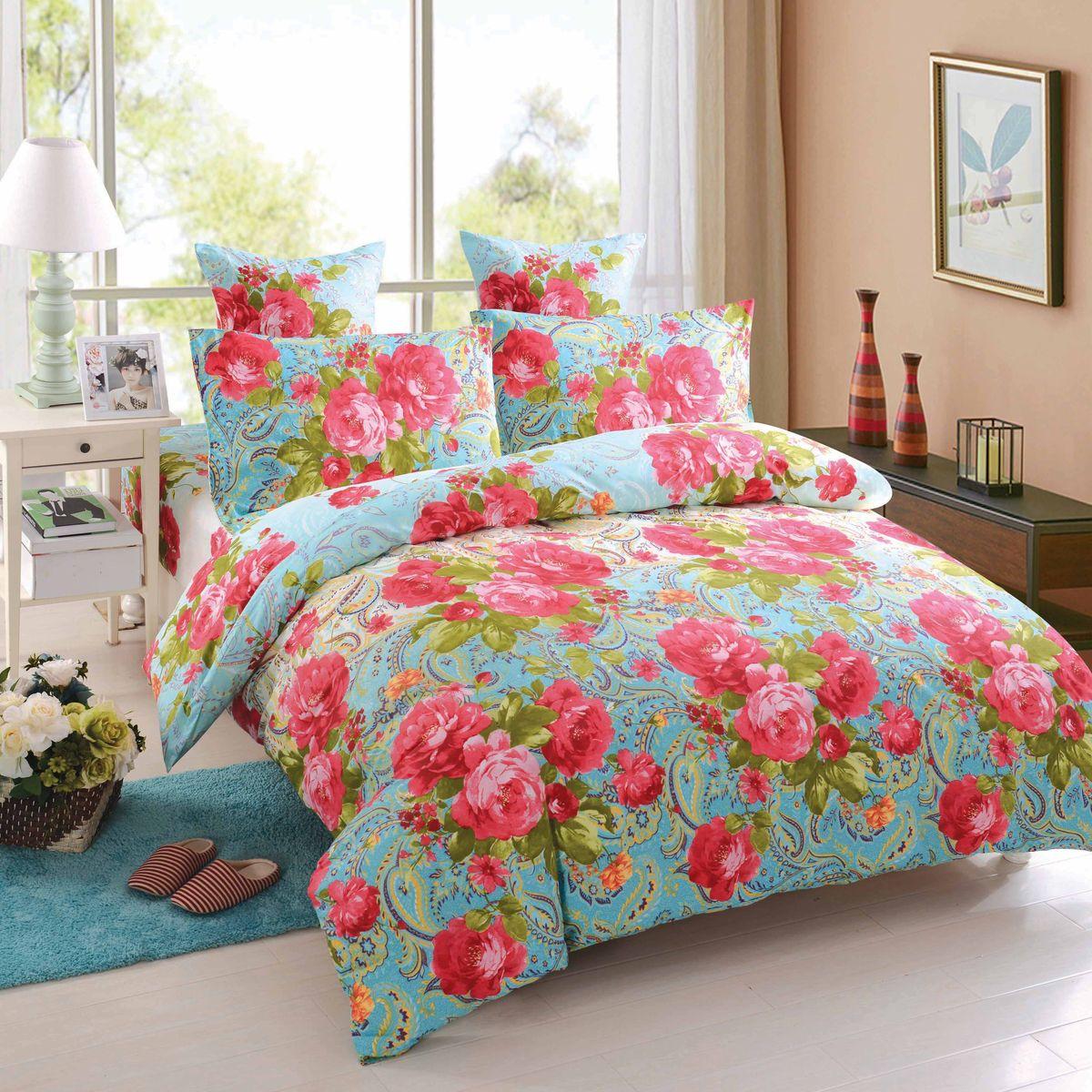 Комплект белья Amore Mio Naples, 1,5-спальный, наволочки 70x70, цвет: красный, голубой87083Постельное белье Amore Mio из сатина - оригинальные дизайны и отменное качество. Ткань изготовлена из 100% хлопка, плотная и легкая, яркие рисунки, отменное качество пошива.