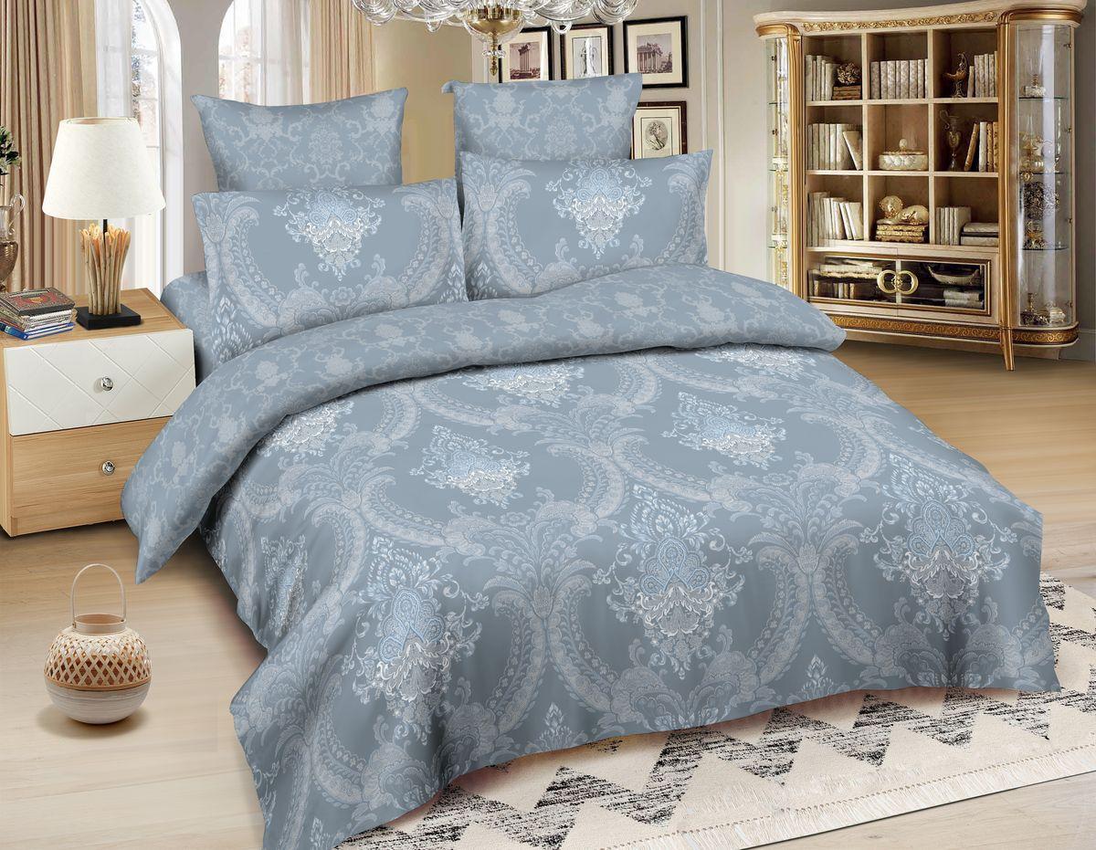 Комплект белья Amore Mio Lyons, 1,5-спальный, наволочки 70x70, цвет: серый, голубой