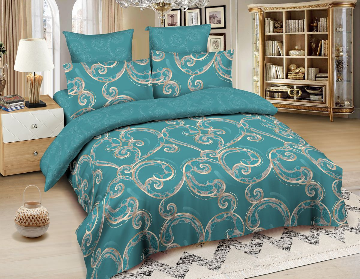 Комплект белья Amore Mio Cordoba, 2-спальный, наволочки 70x70, цвет: бирюзовый, бежевый87956Постельное белье Amore Mio из сатина - оригинальные дизайны и отменное качество. Ткань изготовлена из 100% хлопка, плотная и легкая, яркие рисунки, отменное качество пошива.