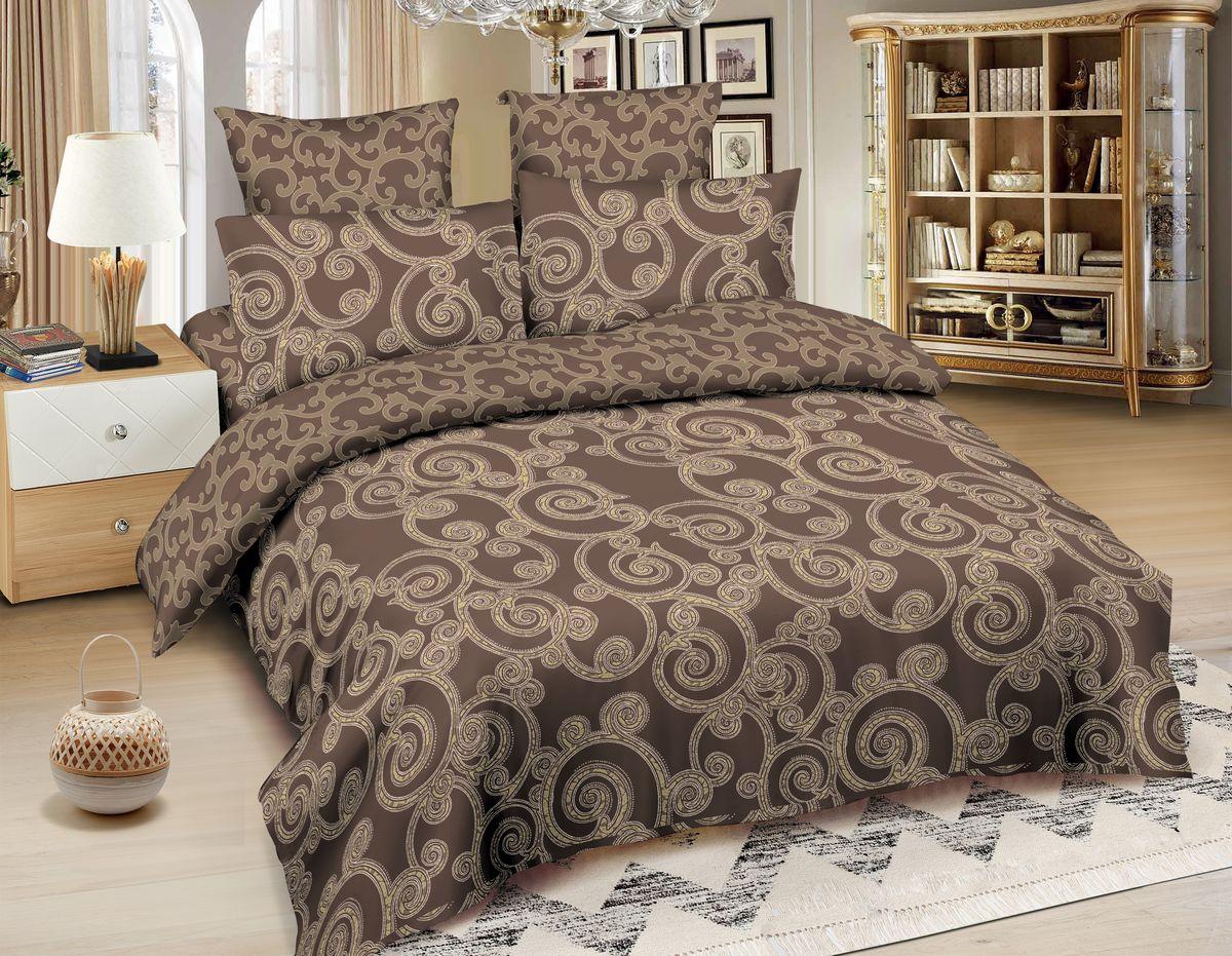 Комплект белья Amore Mio Shanghai, 2-спальный, наволочки 70x70, цвет: коричневый, бежевый