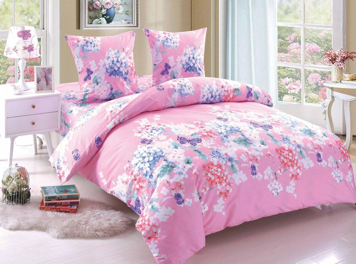 Комплект белья Amore Mio Olivia, 1,5-спальный, наволочки 70x70, цвет: розовый, белый, синий
