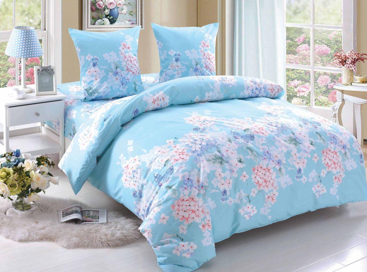 Комплект белья Amore Mio Olivia, 1,5-спальный, наволочки 70x70, цвет: голубой, белый, розовый89355Постельное белье Amore Mio из поплина - оригинальные дизайны и отменное качество. Ткань - плотная и легкая, яркие рисунки, отменное качество пошива.