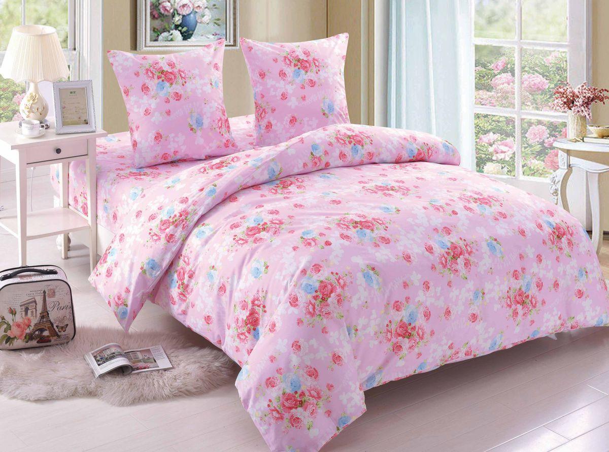 Комплект белья Amore Mio Rose, 1,5-спальный, наволочки 70x70, цвет: розовый, белый, голубой89358Постельное белье Amore Mio из поплина - оригинальные дизайны и отменное качество. Ткань - плотная и легкая, яркие рисунки, отменное качество пошива.